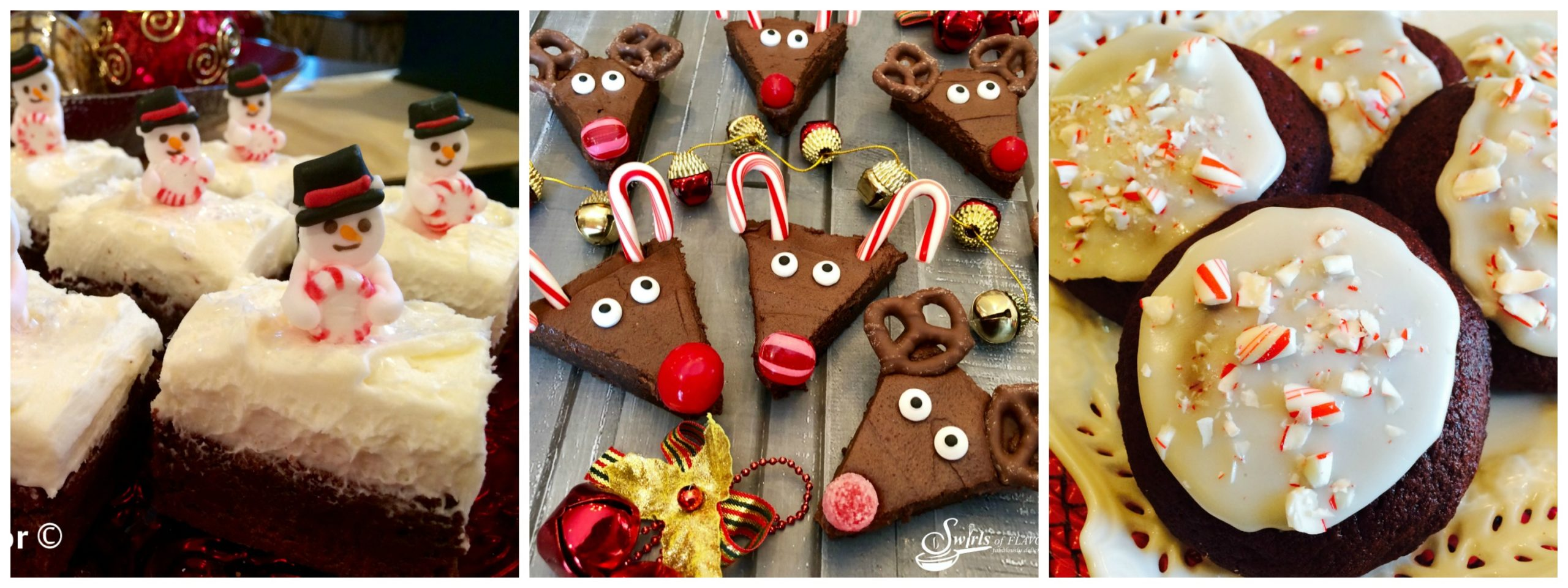 Snowmen Brownies, Reindeer Brownies and Red Velvet Cookies