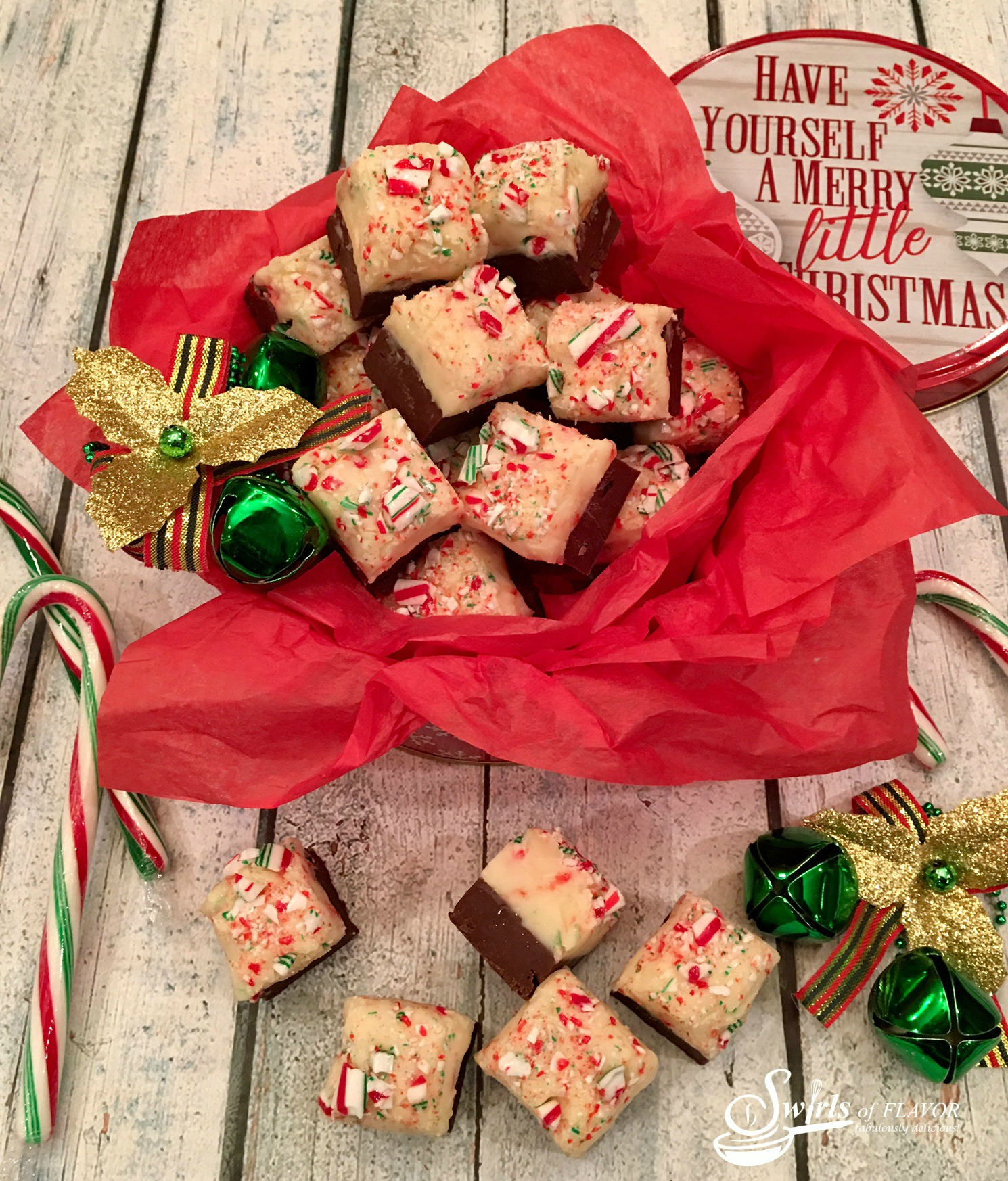 Candy Cane Fudge in gift tin with candy canes