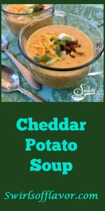 Cheddar Potato Soup is a homemade soup that's creamy, silky and cheesy with a hint of bacon and a quick and easy recipe to make for dinner! Brimming with fresh vegetables, this homemade soup will be a healthy addition to your weeknight menu. #potato #potatosoup #homemadesoup #soup #cheddarsoup #freshvegetables #easyrecipe #weeknightrecipe #creamysoup #bacon #swirlsofflavor