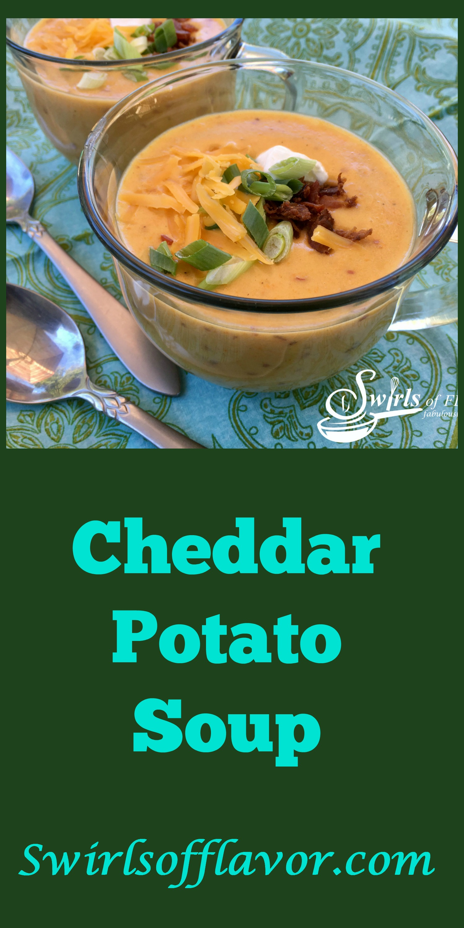 Cheddar Potato Soup is a homemade soup that's creamy, silky and cheesy with a hint of bacon and a quick and easy recipe to make for dinner! Brimming with fresh vegetables, this homemade soup will be a welcome addition to your weeknight menu. #potato #potatosoup #homemadesoup #soup #cheddarsoup #freshvegetables #easyrecipe #weeknightrecipe #creamysoup #bacon #swirlsofflavor
