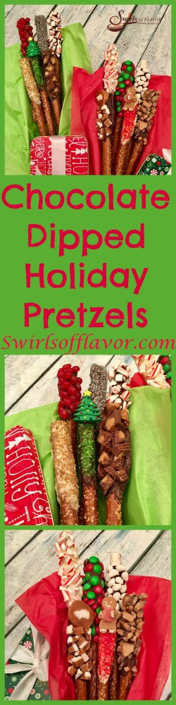 Kids faces (and grownups too!) will light up when they see Chocolate Dipped Holiday Pretzels as a holiday dessert or packed up as an edible gift in a pretty holiday tin!