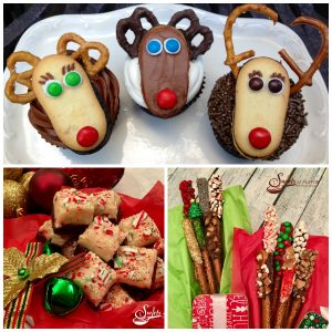 Christmas fudge, Reindeer cupcakes and Chocolate dipped pretzels will make your Christmas dessert table festive and sweet!