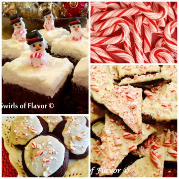 Brownies and cookies become holiday desserts when combined with peppermint and candy canes!