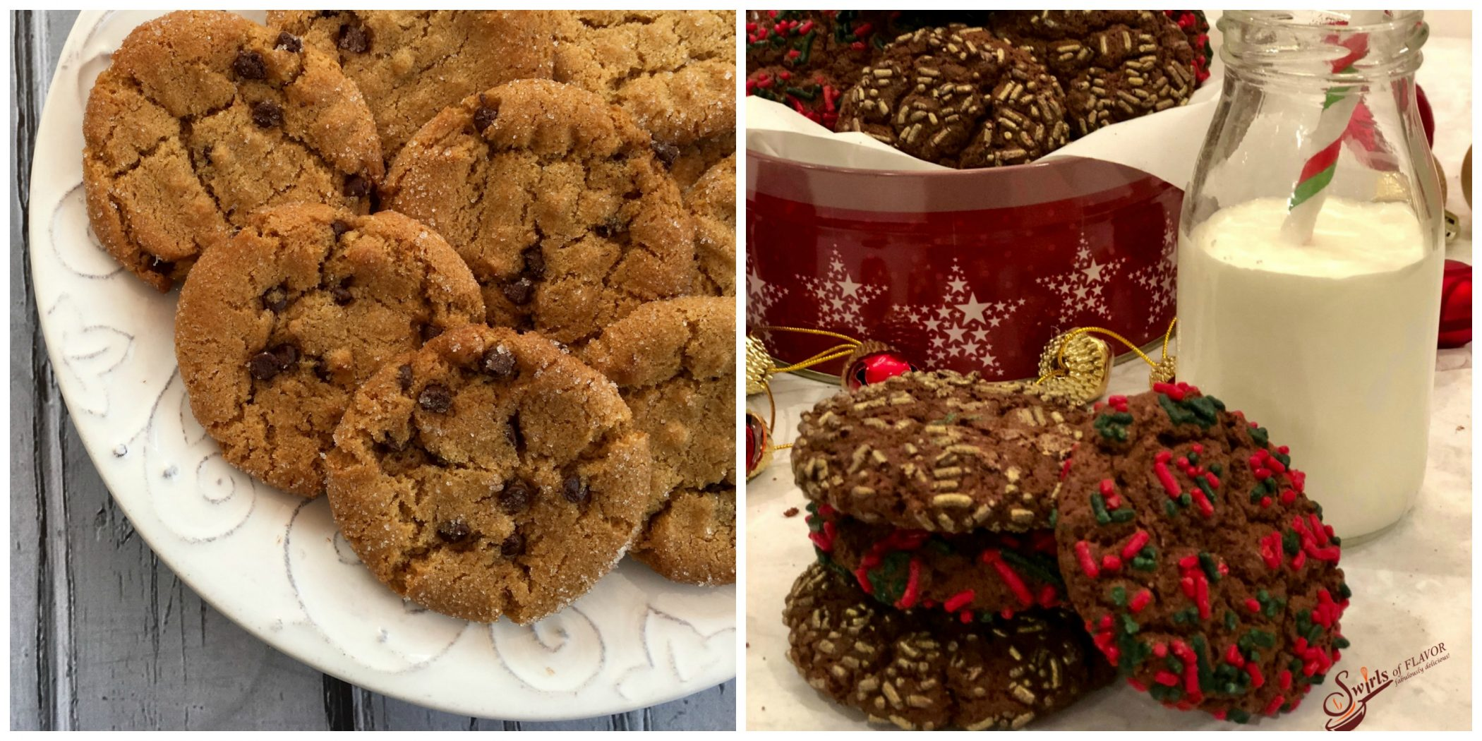 Chocolate Chip Peanut Butter Cookies and Espresso Chocolate Cookies