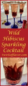 Welcome in the new year with a dressed up sparkling cocktail! Edible wild hibiscus flowers unfurl as the bubbles in your glass fizz! Perfect for holiday entertaining!