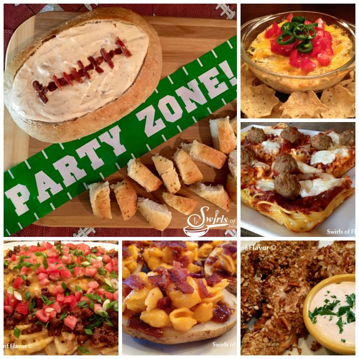 Best Ever Game Day Foods! Bacon Beer Cheddar Dip | Jalapeno Popper Dip | Pretzel Ranch Chicken Tenders | Spaghetti and Meatball Pizza | Chili Fires | Pizza | Potato Skins | Bacon | Mac N Cheese