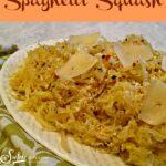 Cacio e Pepe spaghtti squash on a white platter