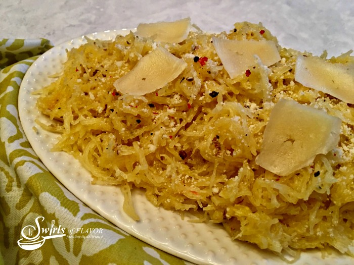 Spaghetti squash puts a healthy spin on Cacio e Pepe, the classic Italian recipe known for the simplest of ingredients.Perfect for Meatless Monday or a vegatable side dish!