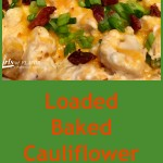 Oven-roasted cauliflower is cooked to perfection with cheesy goodness that melts into all the nooks and crannies. Studded with bits of crispy turkey bacon and scallions, Loaded Baked Cauliflower Casserole really is the healthy alternative to the classic loaded baked potato that you've been looking for! #Cauliflower #lowfat #lowcalorie #lowcarb #cheese #sidedish #easyrecipe #vegetable #casserole #swirlsofflavor