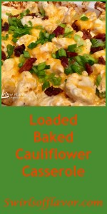 Oven-roasted cauliflower is cooked to perfection with cheesy goodness that melts into all the nooks and crannies. Studded with bits of crispy turkey bacon and scallions, Loaded Baked Cauliflower Casserole really is the healthy alternative to the classic loaded baked potato that you've been looking for! Cauliflower   low fat   low calorie   low carb   cheese