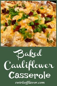 Loaded Baked Cauliflower Casserole is a healthy alternative to the classic loaded baked potato. Cauliflower is cooked to perfection with cheesy goodness that melts into all the nooks and crannies. Our low calorie cauliflower casserole will be a favorite side dish recipe in no time!