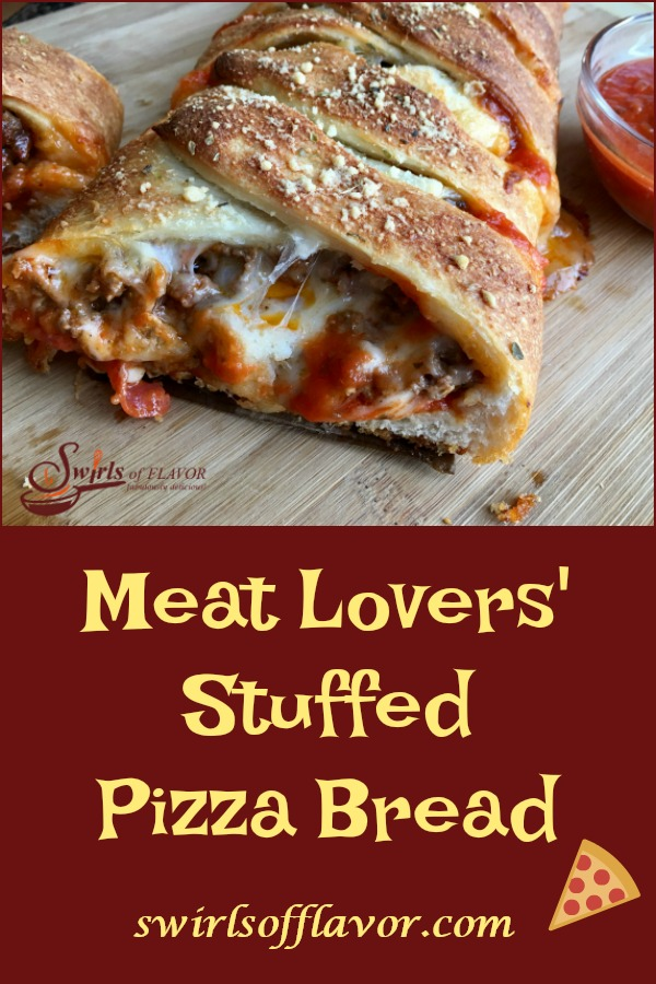 Meat Lovers' Pizza Bread is brimming with seasoned saucy ground beef, spicy pepperoni and three cheeses. A hearty appetizer, our Pizza Bread is a crowd-pleasing easy recipe to make. A perfect pizza recipe for game day, entertaining and the holidays! #pizza #appetizer #stuffedpizza #meatlovers #easyrecipe #crowdpleaser #pizzabrread #cheese #swirlsofflavor