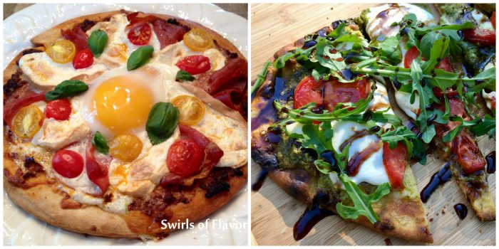 Breakfast Pizza and Grilled Pesto Naan Pizza