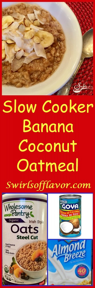 Slow Cooker Banana Coconut Oatmeal cooks while you sleep! Wake up to a nutritious breakfast that's easy to make and full of nutrition!