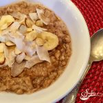 Slow Cooker Banana Coconut Oatmeal cooks while you sleep! Wake up to a nutritious breakfast that's easy to make and full of nutrition! banana | coconut | slow cooker | easy recipe | breakfast | overnight cooking | crockpot | steel cut oatmeal | #swirlsofflavor