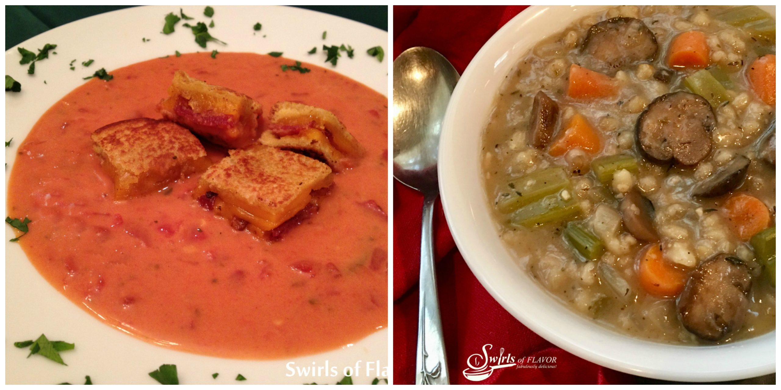 tomato Soup and Mushroom Barley Soup