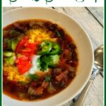 black bean soup with toppings and text overlay