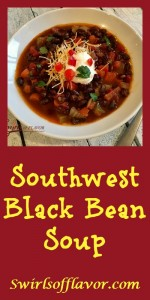 Filled with protein-packed black beans, fresh vegetables, a combination of southwest spices and topped off with seasoned diced tomatoes and green chilies, this Black Bean Soup is pure heaven! Soup | black beans | southwest | black bean soup | dinner