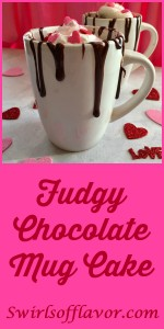 Fudgy Chocolate Mug Cake is a warm, fudgy chocolate cake with bits of melty mini chocolate chips throughout microwaves into a divine dessert that's guaranteed to impress your special valentine. #chocolate #dessert #Mug Cake #Valentine's Day #single serving #easy recipe #chocolate chips #microwave #swirlsofflavor