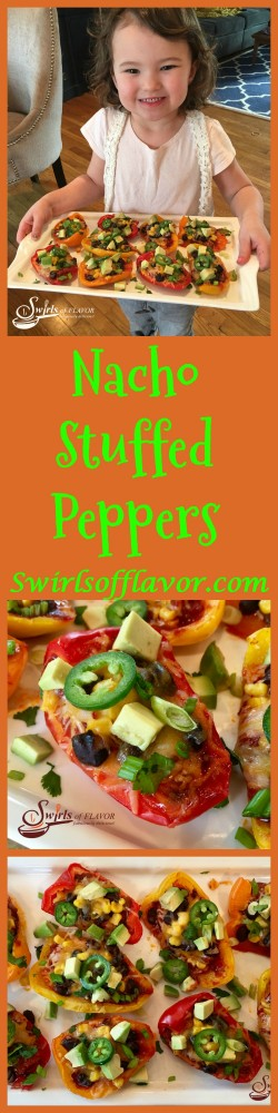 Cheesy, spicy Nacho Stuffed Peppers are seasoned with taco seasoning and brimming with salsa, black beans, corn, avocado, jalapeno and cheesy goodness! Nachos | appetizer | nachos | low fat | gluten free | cheese | stuffed peppers