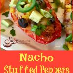Spicy Nacho Stuffed Peppers is an easy appetizer recipes that's seasoned with taco seasoning and brimming with salsa, black beans, corn, avocado, jalapeno and cheesy goodness! #nachos #easyrecipe #appetizer #nachosrecipe #lowfat #glutenfree #cheese #stuffedpeppers #swirlsofflavor