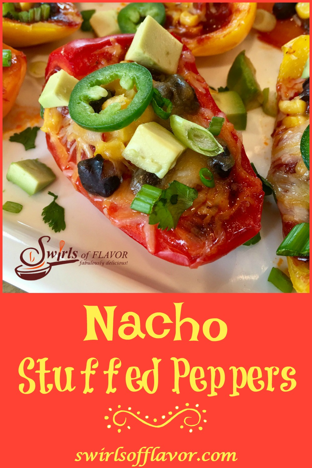 Spicy Nacho Stuffed Peppers is an easy appetizer recipe that's seasoned with taco seasoning and brimming with salsa, black beans, corn, avocado, jalapeno and cheesy goodness! #nachos #easyrecipe #appetizer #nachosrecipe #lowfat #glutenfree #cheese #stuffedpeppers #swirlsofflavor