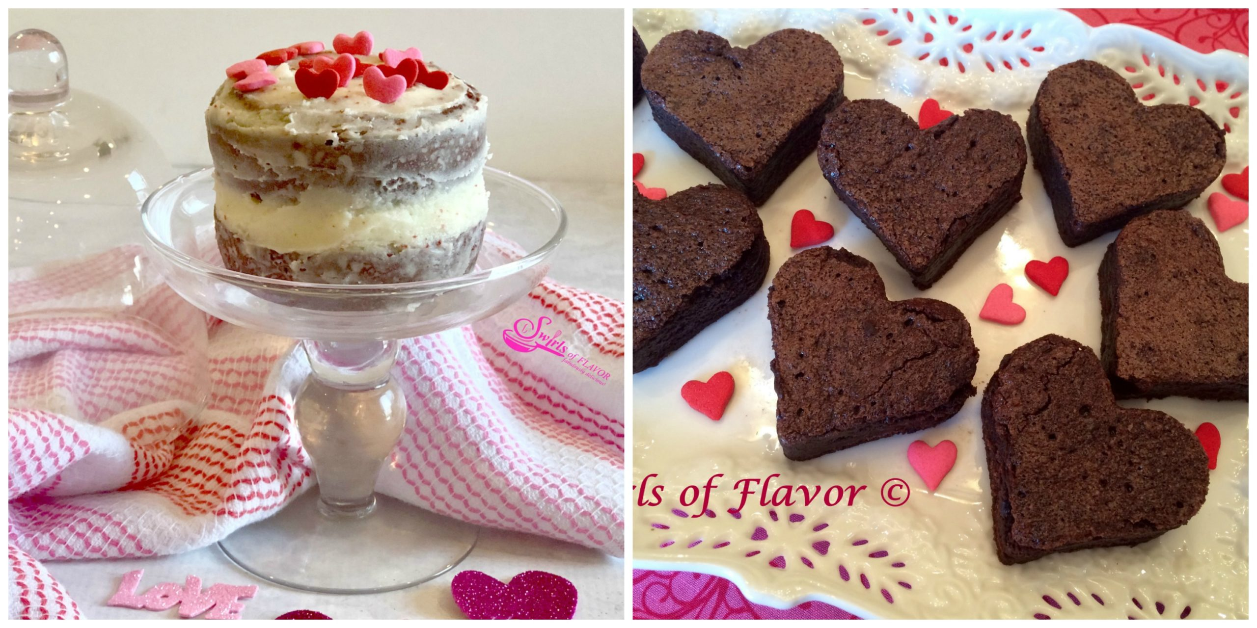 Red Velvet Mini Layer Cakes and Heart Brownies