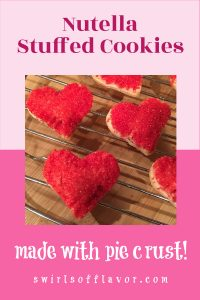 nutella stuffed cookies on wire rack with text overlay
