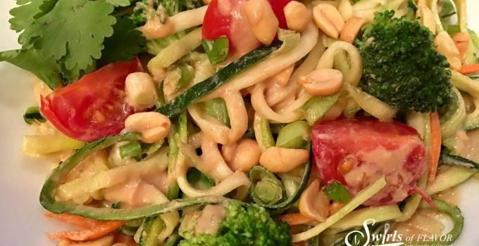 Zucchini Noodles & Broccoli With Peanut Sauce