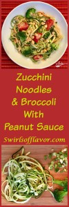 Zucchini noodles, broccoli and cherry tomatoes are coated in a silky peanut sauce and topped with crunchy scallions and peanuts! A perfect Meatless Monday dinner or side dish to your favorite meal! zucchini | zucchini noodles | zoodles | spiralizer | meatless Monday | peanut sauce | vegetables | dinner | pasta | #swirlsofflavor