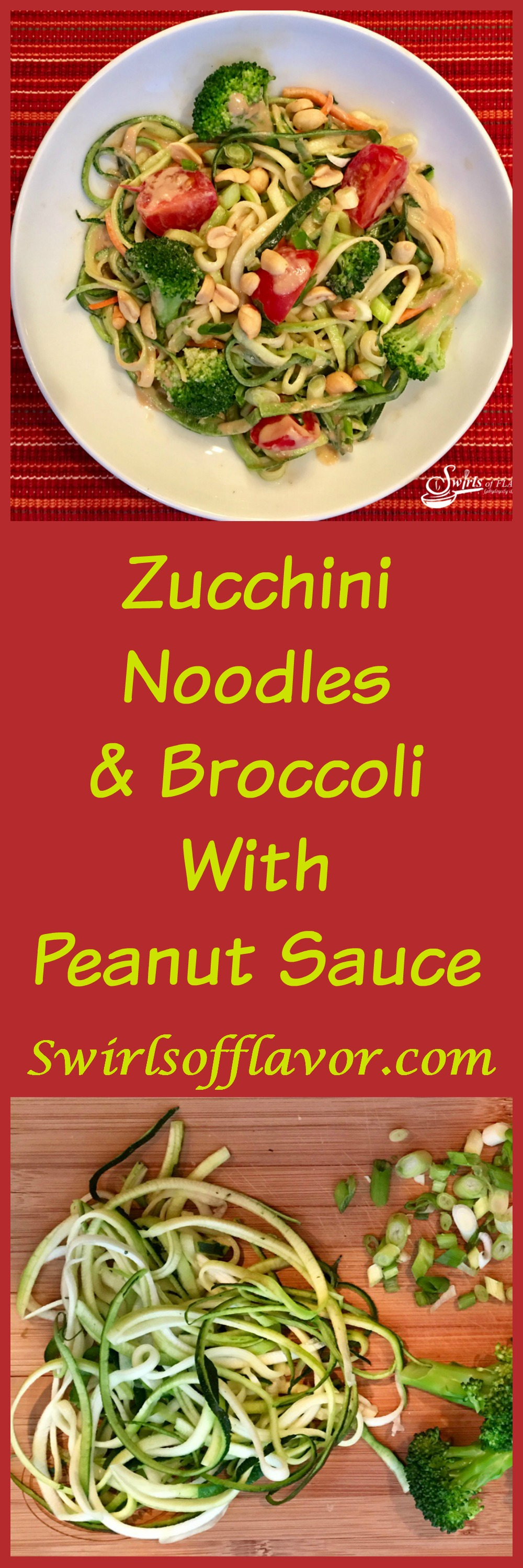 Zucchini noodles, broccoli and cherry tomatoes are coated in a silky peanut sauce and topped with crunchy scallions and peanuts! A perfect Meatless Monday dinner or side dish to your favorite meal! zucchini | zucchini noodles | zoodles | spiralizer | meatless Monday | peanut sauce | vegetables | dinner | pasta | #swirlsofflavo