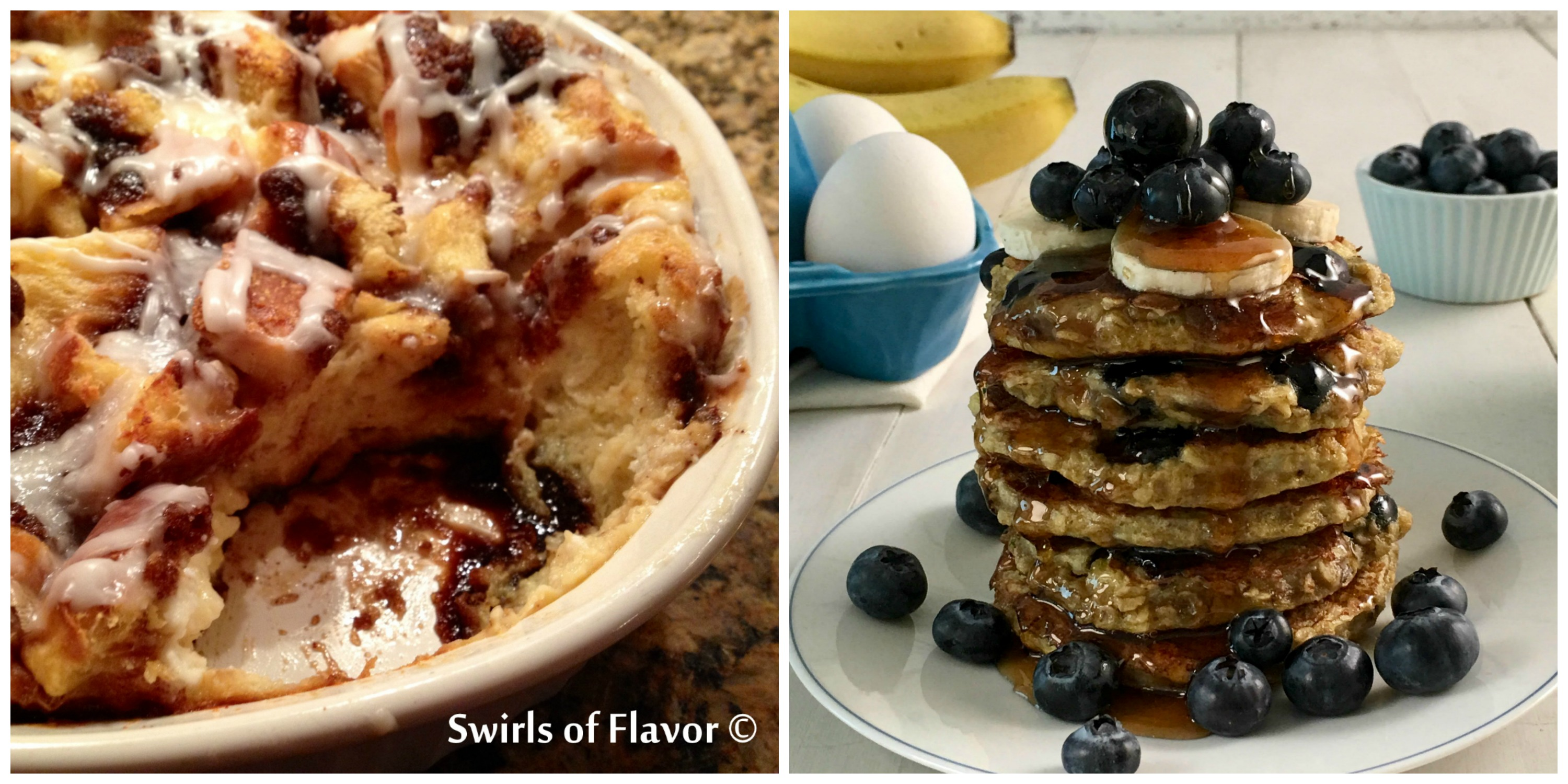 Cinnamon Bun Bread Pudding and Blueberry Pancakes
