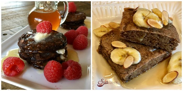Flourless Chocolate Oat Pancakes and Sheet Pan Banana Bread Pancakes
