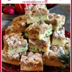pie of homemade crumb cake with sprinkles and text overlay