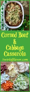Cabbage, carrots and sweet onions sauteed in a Guinness reduction are layered with cheddar & potato filled mini piergoies, corned beef and aged Irish cheddar cheese for a mouthwatering casserole guaranteed to please your favorite Irishman! corned beef | corned beef and cabbage | cabbage | casserole | St. Patrick's Day | pierogies | pierogy | cheese