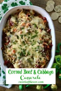 Corned Beef and Cabbage Casserole in baking dish