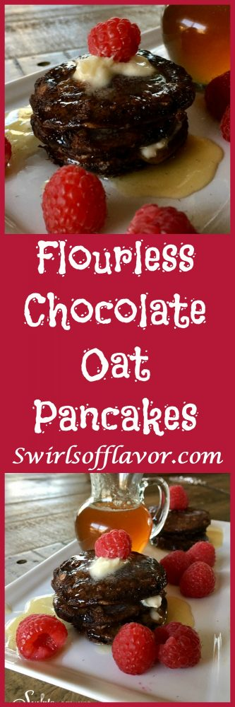 Flourless Chocolate Oat Pancakes are the perfect breakfast for kids and grownups too! gluten free | flourless | chocolate | pancakes | chocolate pancakes | breakfast | brunch