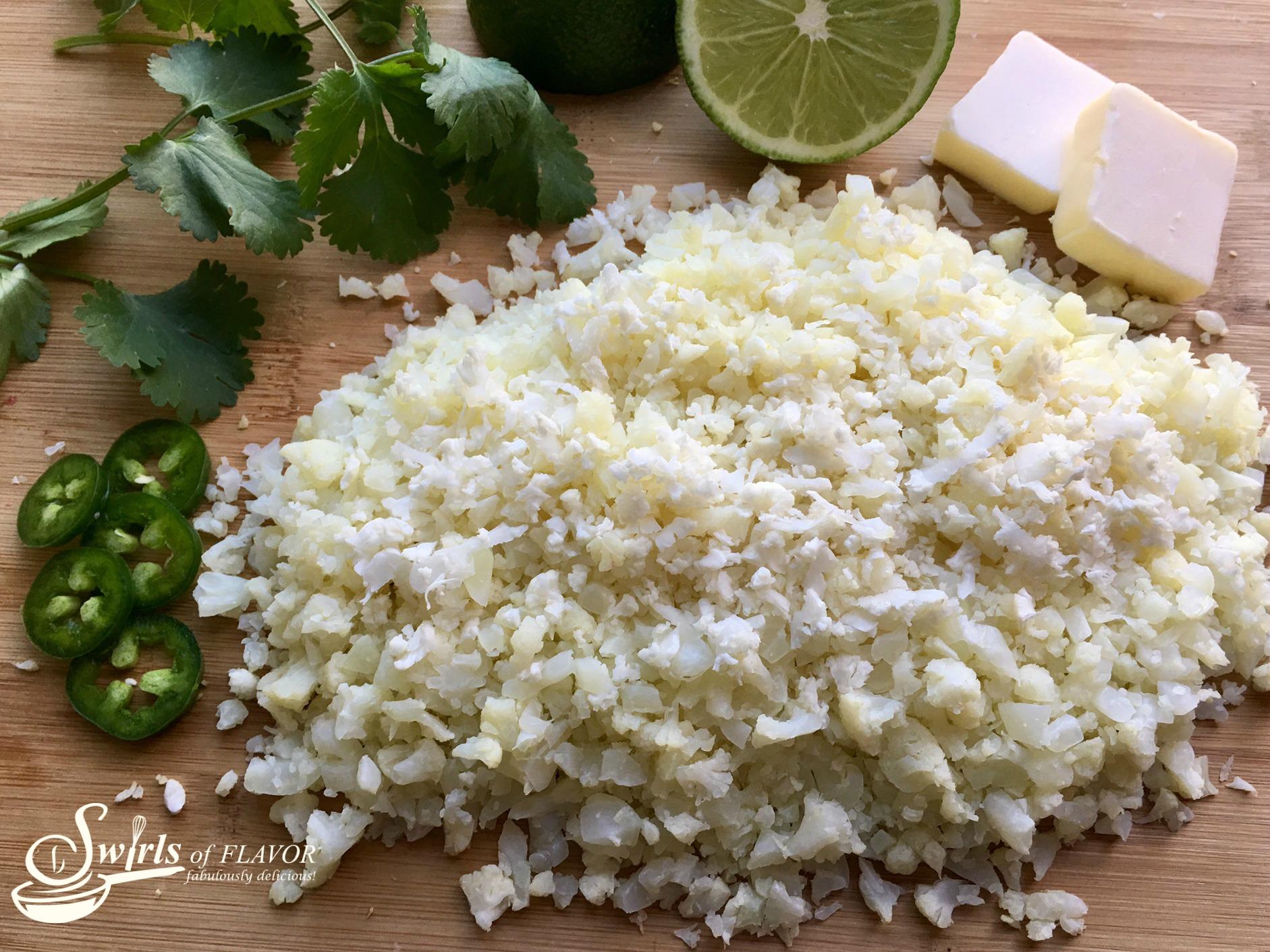 ingredients t make cauliflower lime rice