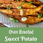 Oven Roasted Turmeric Sweet Potato Fries combine two super foods and roast in the oven so you won't feel guilty eating these fabulously delicious fries! #sweetpotatoes #turmeric #frenchfries #ovenbaked #fries #ovenroastedfries #sweetpotatofries #healthy #turmeric #whole30 #swirlsofflavor