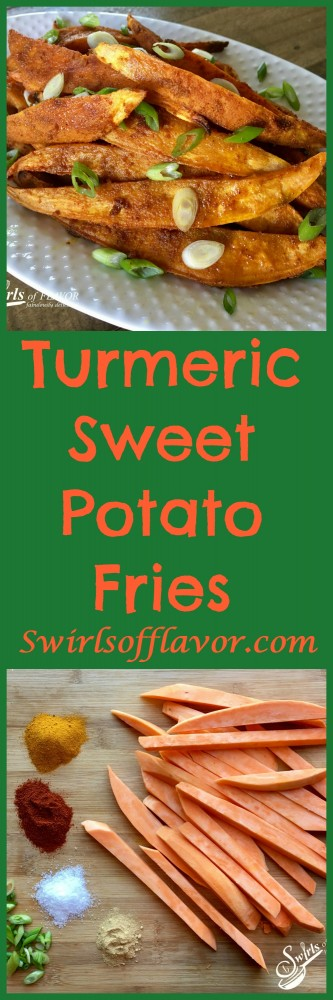 Oven Roasted Turmeric Sweet Potato Fries combine two superfoods and roast in the oven so you won't feel guilty eating these fabulously delicious fries! sweet potatoes | turmeric | french fries | oven baked fries | oven roasted fries | sweet potato fries
