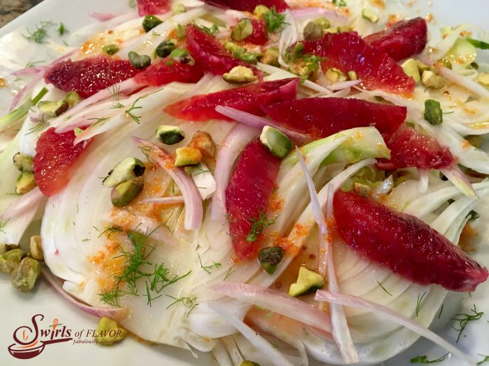 Crisp slices of fresh fennel with a hint of licorice flavor combine with the raspberry-citrus notes of blood oranges making Pistachio Blood Orange & Fennel Salad a refreshing addition to any meal. blood orange | orange | fennel | nuts | pistachios | salad | side dish