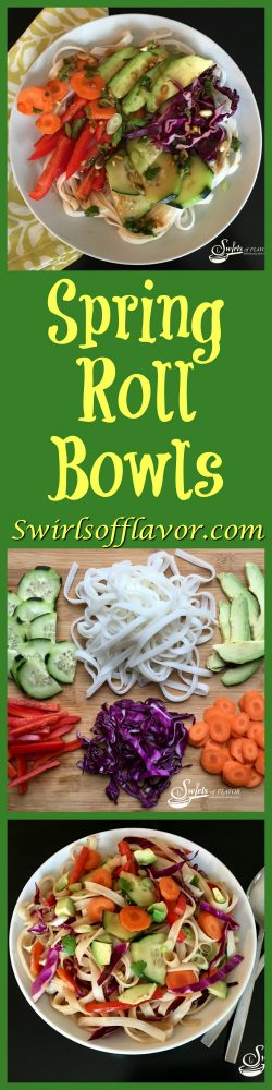 Spring Roll Bowls have all the flavors and textures of a spring roll, with half the fuss, all in a bowl!rice noodles | spring rolls | spring roll bowl | meatless monday | dinner