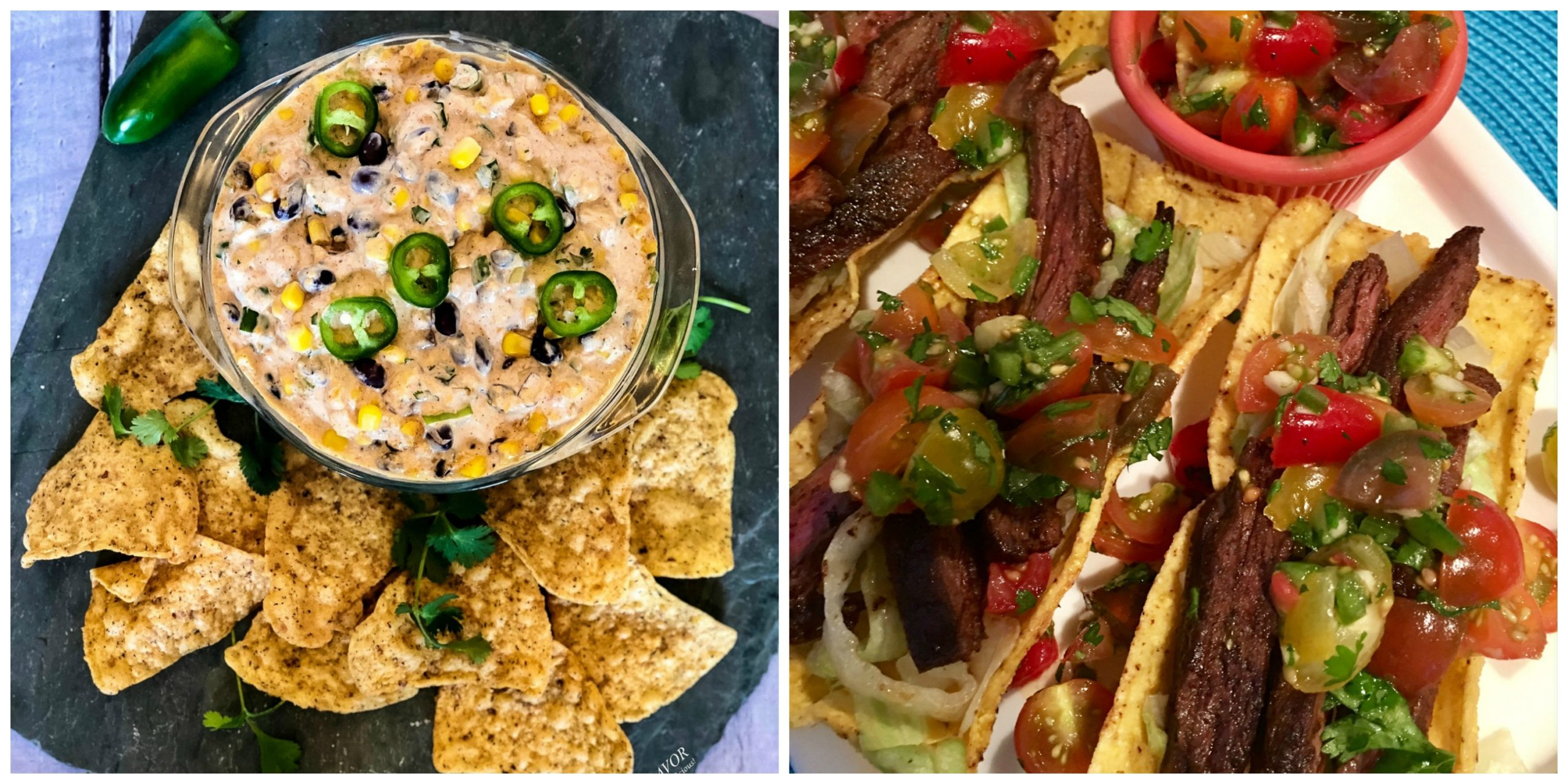 Bean Dip and Skirt Steak Tacos
