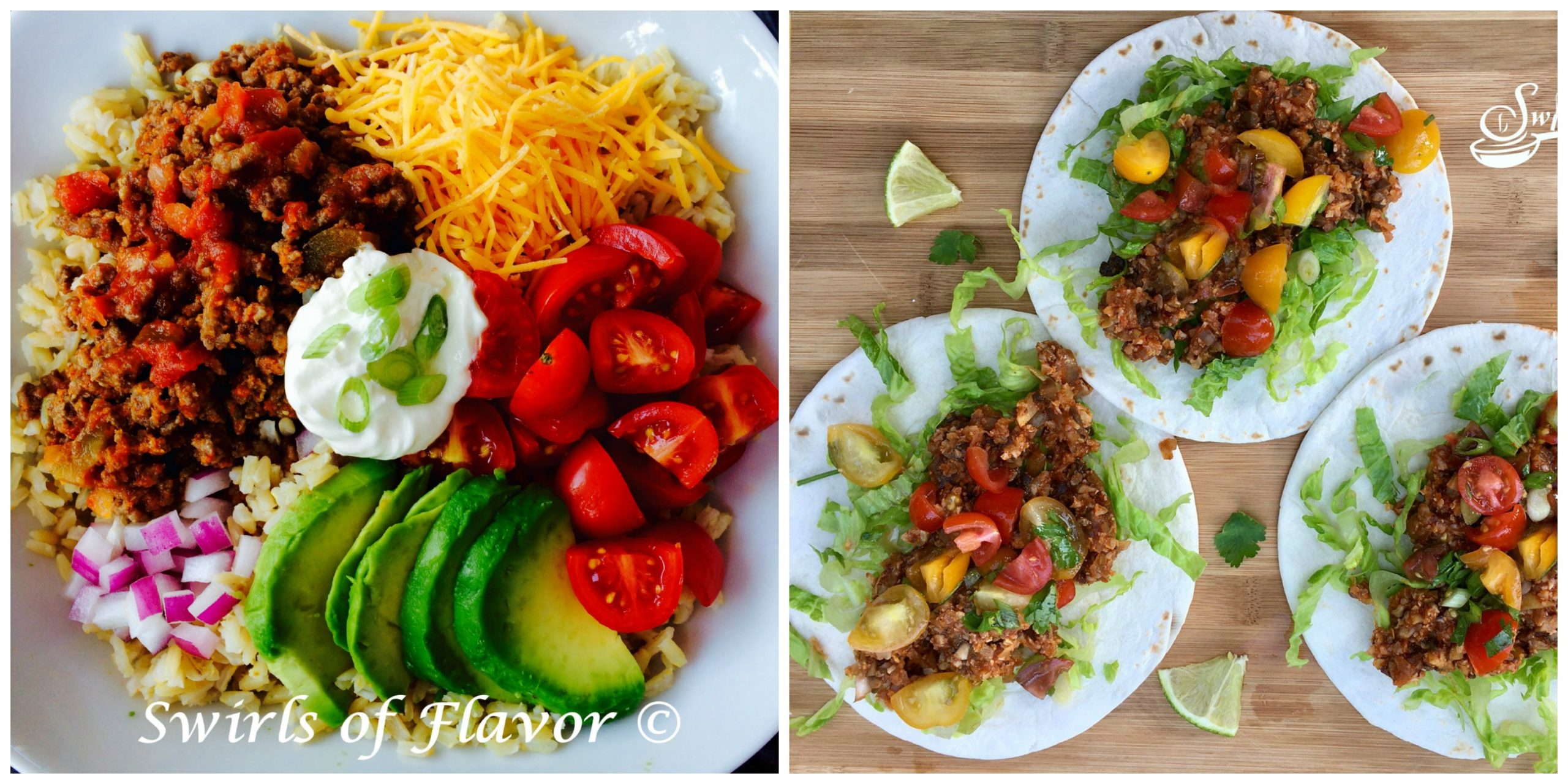 Taco Bowl and Cauliflower Tacos