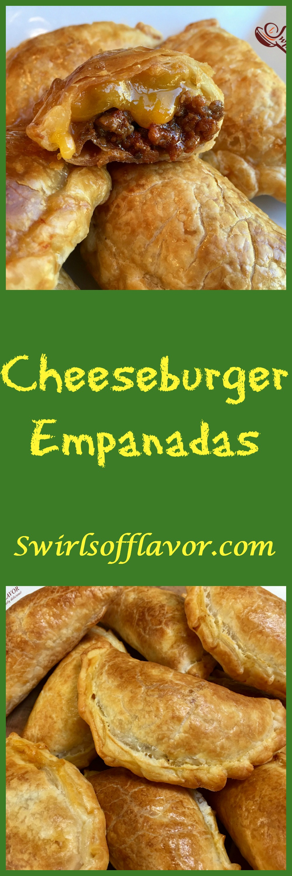 Cheeseburger Empanadas are bursting with a ground beef, ketchup and cheese filling, making them the perfect kid friendly snack!  #cheeseburger #empanadas #groundbeef #cheese #kidfriendly #snack #appetizer #CincodeMayo #easyrecipe #ovenbaked  #swirlsofflavor