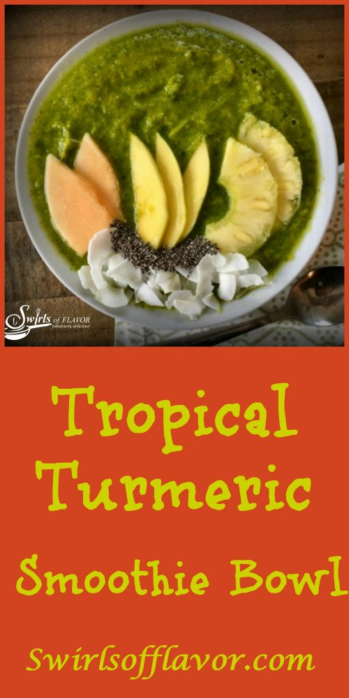 Tropical Turmeric Smoothie Bowl combines turmeric, greens and chia seeds along with fabulous tropical fruits for a healthy delicious smoothie bowl that's on trend! smoothie | smoothie bowl | chia seeds | turmeric | green smoothie | mango | pineapple | cantaloupe | breakfast | snacks