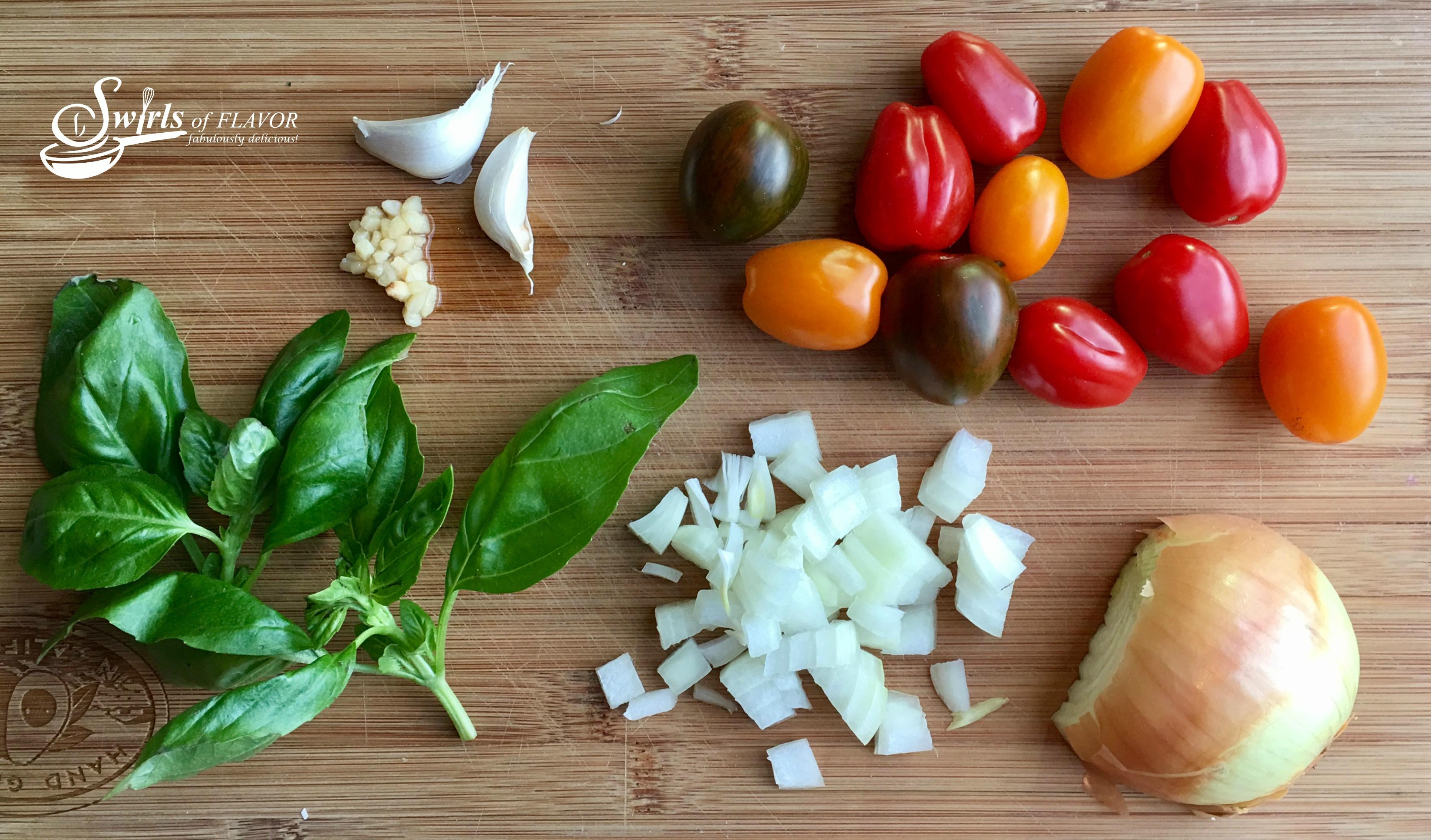 ingredients for tomato basil pasta recipe