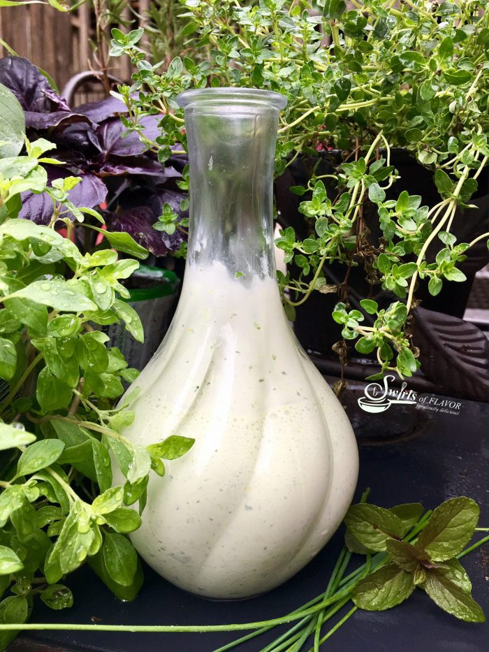 Savor the taste of summer tonight with the creaminess of a Green Goddess Salad Dressing kissed with the summertime flavors of fresh herbs! salad dressing | creamy dressing | mayonnaise | Greek yogurt | sour cream | herbs | Green Goddess | homemade dressing
