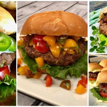 collage of four homemade burger recipes