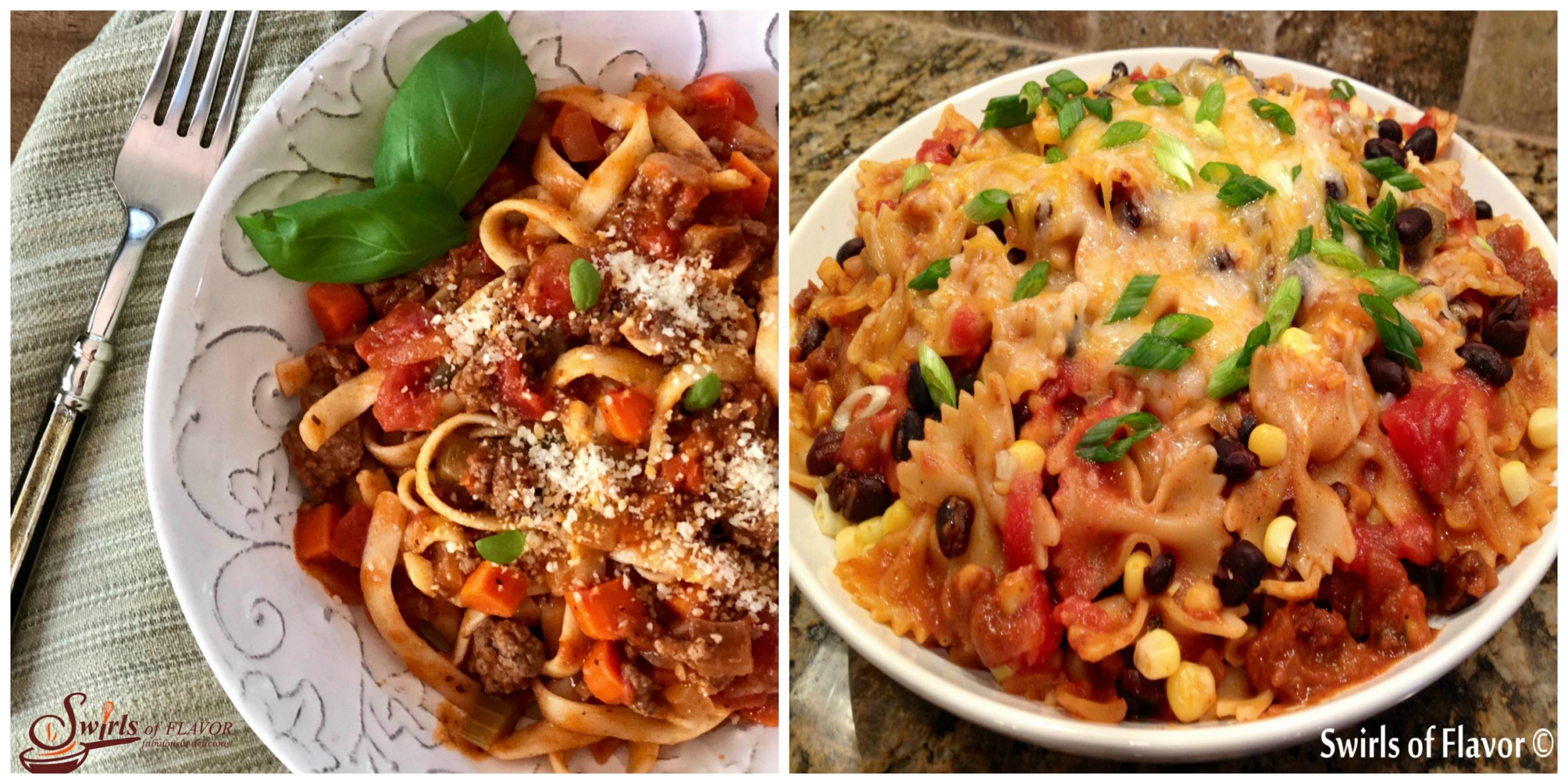 Fettuccine Bolognese and Mexicali Pasta